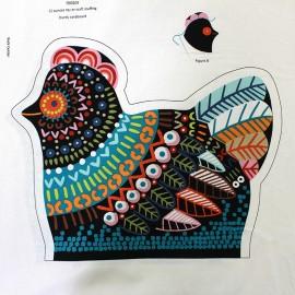 Tissu coton Chicken in the kitchen pannel - black x 60cm