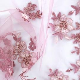 Tissu Dentelle brodée sur tulle Lucy - rose x 27cm