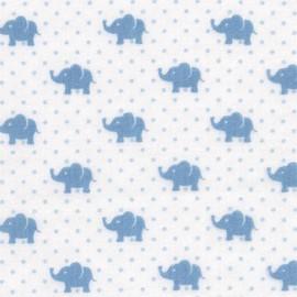 Tissu double gaze de coton Little Prints  Elephant - blue x 10 cm