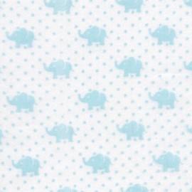 Tissu double gaze de coton Little Prints  Elephant - sky x 10 cm