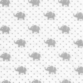 Tissu double gaze de coton Little Prints  Elephant - grey x 10 cm