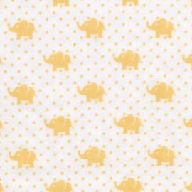 Tissu double gaze de coton Little Prints  Elephant - yellow x 10 cm