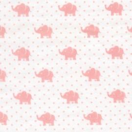 Tissu double gaze de coton Little Prints  Elephant - pink x 10 cm