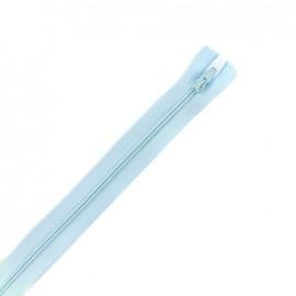 Fermeture éclair non séparable fine nylon -  bleu dragée