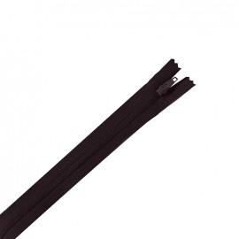 Fermeture éclair non séparable fine nylon -  aubergine