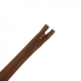 Fermeture éclair non séparable fine nylon - chocolat