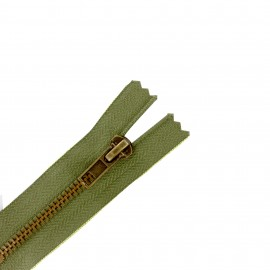 fermeture éclair métal non séparable - vert asperge