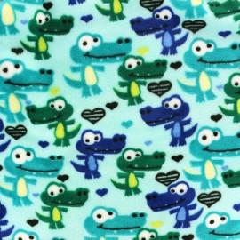 Tissu Velours minkee Sweet crocodile x 10cm