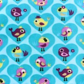 Minkee velvet fabric Birdy - blue x 10cm