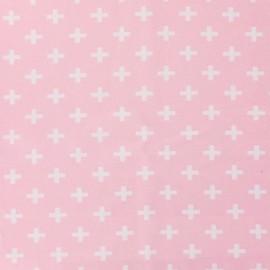 Tissu Jersey Croix - rose x 10 cm