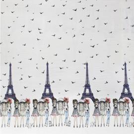Tissu Jersey impression digitale Girls in Paris - blanc x 33cm