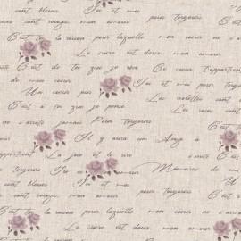 Tissu toile de coton lin Poème - lilas x 10 cm
