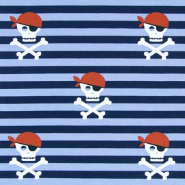 Striped jersey fabric Hissez ho ! - navy x 19 cm