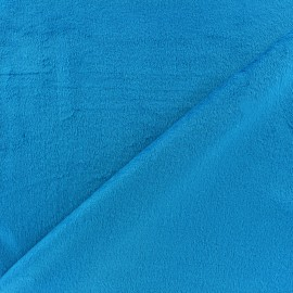 Tissu velours minkee réversible uni Toodoo - bleu turquoise x 10cm