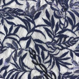 Tissu Dentelle brodée pailletée sur tulle Leaf - bleu marine x 10cm