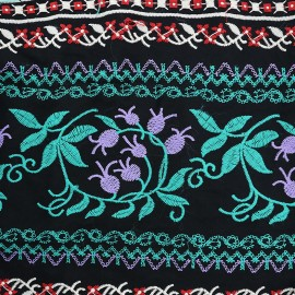 Embroidered viscose Fabric  Gypsy - green x10cm