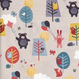 Makower UK cotton fabric Windy day Scenic - blue grey x 30cm