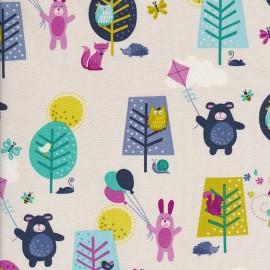 Makower UK cotton fabric Windy day Scenic - turquoise x 30cm