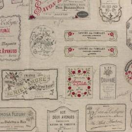 Tissu toile de coton lin Savon - noir et rouge x 61cm
