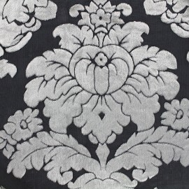 Flocked velvet on tulle fabric Baroque - black x 10cm