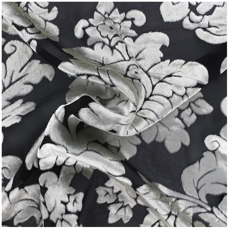 tissu velours floqu sur tulle baroque noir x 10cm ma. Black Bedroom Furniture Sets. Home Design Ideas