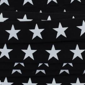 Flat elastic Stars 40 mm - white/black x 1m