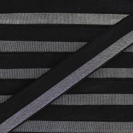 Silvery lamé elastic ribbon 15 mm - black x 1m