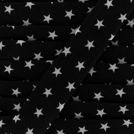 Cotton bias Stars 30 mm - black x 1m