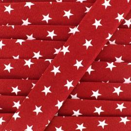 Cotton bias Stars 30 mm - red x 1m