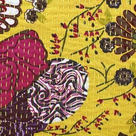 Tissu coton brodé Kantha Ananas - safran x 10cm