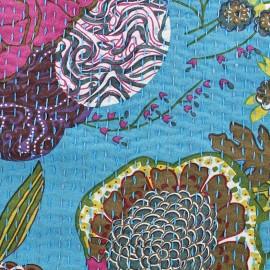 Tissu coton brodé Kantha Ananas - turquoise x 10cm