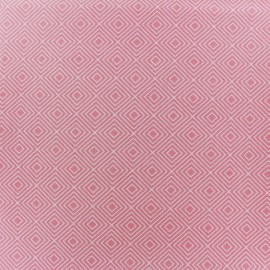 Coated cotton fabric Poppy Square - white/light pink x 10cm