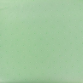 Coated cotton fabric Poppy Square - white/jade green x 10cm