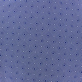 Coated cotton fabric Poppy Square - white/navy blue x 10cm