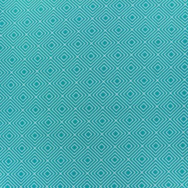 Coated cotton fabric Poppy Square - white/azure blue x 10cm
