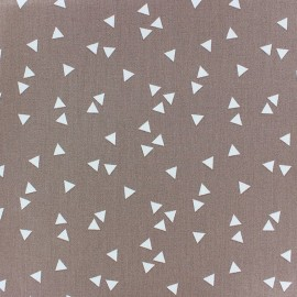 Coated cotton fabric Poppy Triangle - white/dark beige x 10cm