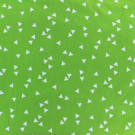 Coated cotton fabric Poppy Triangle - white/light green x 10cm