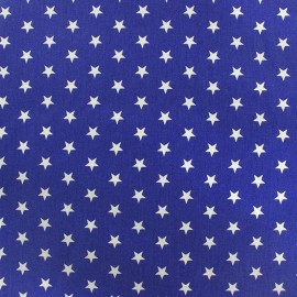 Coated cotton fabric Poppy Triangle - white/navy blue x 10cm