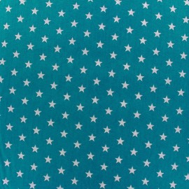 Coated cotton fabric Poppy Triangle - white/azure blue x 10cm