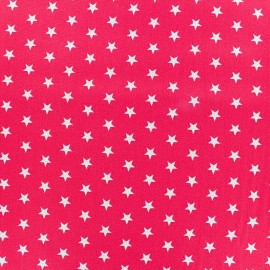 Coated cotton fabric Poppy Triangle - white/fuchsia x 10cm