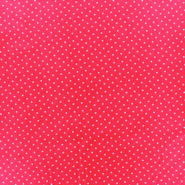 Coated cotton fabric Poppy Mini Pois - white/fuchsia x 10cm