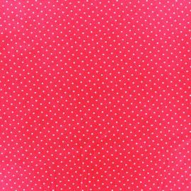 Tissu enduit coton Poppy Mini Pois - blanc/fuchsia x 10cm