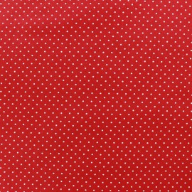 Coated cotton fabric Poppy Mini Pois - white/red x 10cm