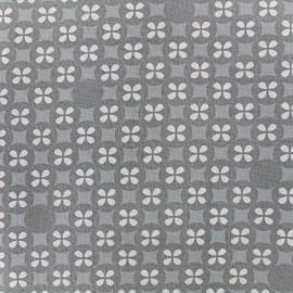 Tissu double gaze de coton Little Prints  Mosaic - grey x 12 cm