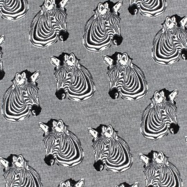 Poppy Jersey fabric Zebra - White x 10 cm