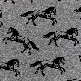 Poppy  Jersey Fabric Horse Ride - black x 10 cm