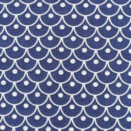 Poppy  Jersey Fabric Geometric - navy x 10 cm