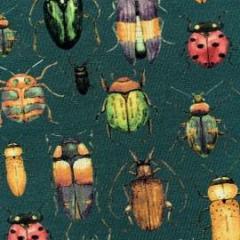 Poppy Jersey fabric Insects - fir green x 10 cm
