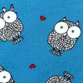Poppy jersey fabric Owlicious - duck blue x 10cm