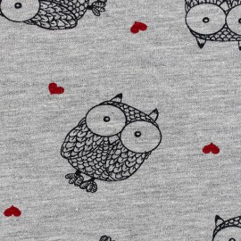 Poppy jersey fabric Owlicious - grey x 10cm